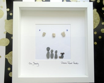 Pebble Art ~ Pebble Picture ~ Personalised Family Picture ~ Family of 3 Art ~ Keepsake Box Frame ~ Framed Picture