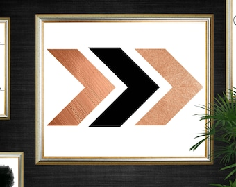 Rose Gold Foil, Chevron Geometric Print, Gallery Wall Print, Home Decor, Instant Download