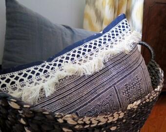 """Handmade vintage hmong  lumbar pillow cover 13""""x20"""""""