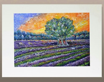 Original Oil Painting - Lavender Field at Sunset