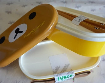 Super kawaii Rilakkuma two tier bento box with chopsticks