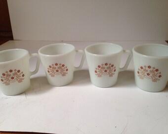 Set of 4 Vintage Summer Impressions Brown Flowers Pyrex Mugs
