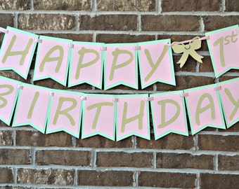Pink, Mint, and Gold Birthday Banner. Happy Birthday Banner.