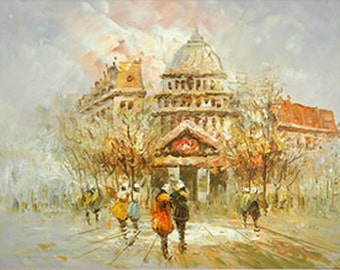 Landscape Oil Painting - Europe Town