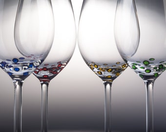 4 Hand Painted Wine glasses