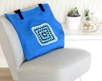 Linen tote, beach bag, market bag with original pocket