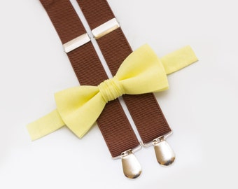 Christmas Gift Yellow Baby Bowtie Wedding Boys Outfit Light Yellow Bow Tie and Brown Suspenders