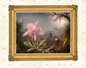 Cattleya Orchid and Three Hummingbirds, 1871, Martin Johnson Heade .Giclee print.Orchid print, Hummingbird art, American master.