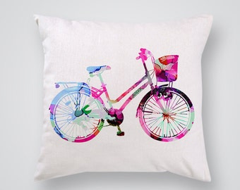 Woman Bicycle Art Pillow Cover - Decorative Pillow - Throw Pillow - Gift Idea
