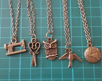 Bronze charm necklaces