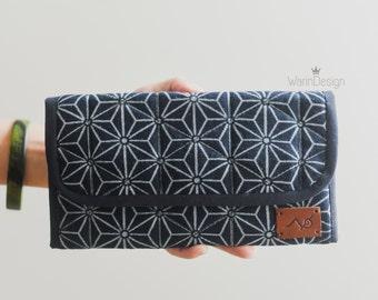 Trifold Wallet Ikat Fabric Wallet Navy Blue Wallet Women's Long Wallet Cotton Wallet Minimalist Wallet Tribal wallet Aztec wallet