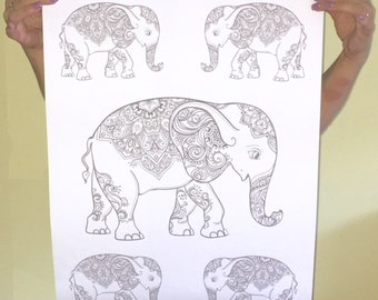 Elephant Coloring Poster