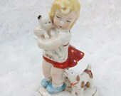 Vintage Porcelain Statuette Girl  with cat and dog Germany figurine Ceramic figurine Small girl statuette Vintage Germany statuette
