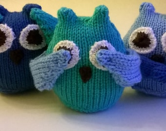 Hear, See, Speak No Evil Set of 3 Little Owls - Hand knitted decorative item