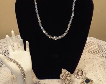 Iridescent Single Strand Crystal Necklace / Choker / Victorian Style / Vintage Costume Jewelry