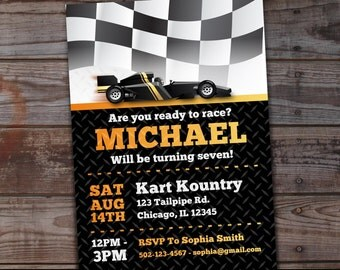 Go-Kart Birthday Invitation, Karting Birthday Invitation, Go-Kart Party Invitations, Boys Birthday Invitations, Go Cart Birthday Party