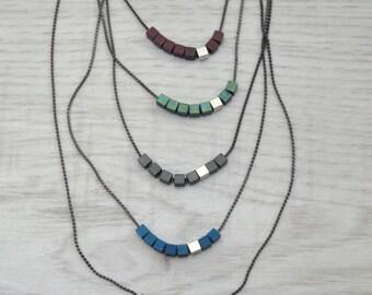 Hematite Cube Beaded Necklace, Birthstone Layering Necklace, Delicate Minimalistic Geometric Gemstone Bar Necklace, Contemporary jewelry