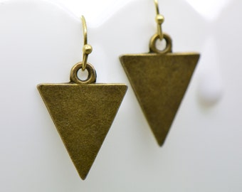 Triangle Flag Earrings, Antique Bronze Finish, Vintage Style Charm Pendant Earring, Carnival Bunting Flag Jewelry (C019)
