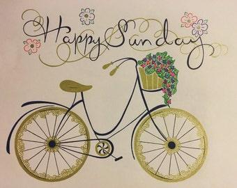 Happy Sunday Bike Drawing