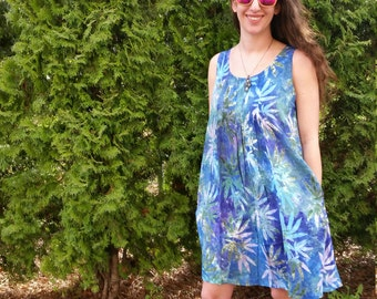 Cannabis Batik Print Short Pleated Dress