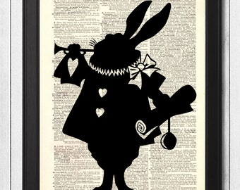 1800s Dictionary Art RABBIT from Alice in Wonderland, Upcycled Book Art, Room Decor, Vintage Art Print, Mixed Media