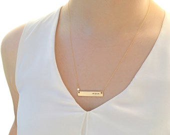 """Mom necklace/ """"mom"""" Heart Bar Necklace with Sparkling Zirconia / Mother's Day Necklace/ Hand Stamped/For Mom, Mom's Birthday and All"""