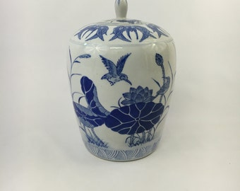 Blue and White Kingfisher Ginger Jar
