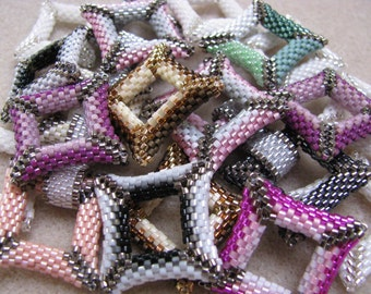 Pearl beaded square 3D beads Miyuki sold by 10 with color choice