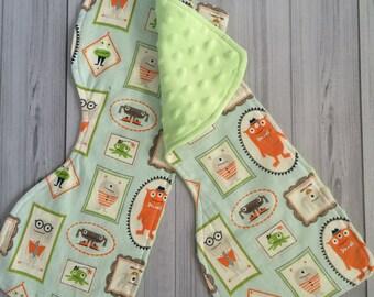 Monster Burp Cloths - Minky Burp Cloths - Contoured Burp Cloths