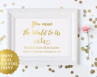 You Mean The World To Us Sign, World Map Wedding Guest Book Sign,Wedding Guest Globe Sign Wedding World Map Guest Book Alternative Gold Foil