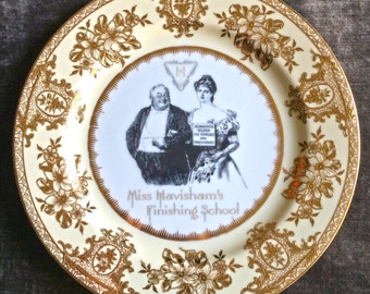 Vintage Noritake Miss Havisham's Finishing School Shame Dinner Plate, gold