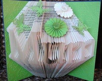 Folded Book Art Any Name Folding Sculpture Apple Green Plain/Embellished/Embossed Birthday Christmas Anniversary Wedding New Baby Valentine