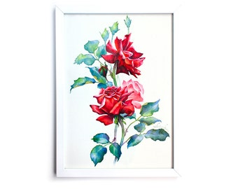 Three Red Roses bouquet. Watercolor Art Print 7,8x11,8