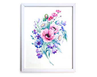 Field flowers bouquet. Watercolor Art Print 7,8x11,8