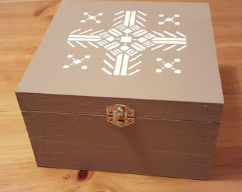 Aztec design wooden box