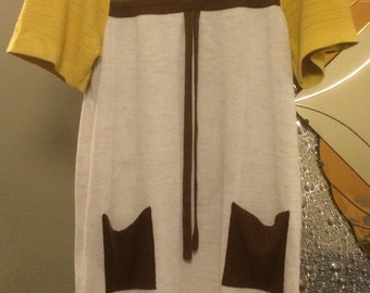 1960s Vintage Knitted Dress Mod Go Go