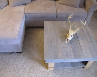 Wooden Pallet Coffee Table with bottom shelf