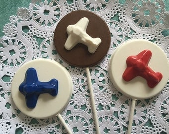 AIRPLANE CHOCOLATE LOLLIPOP -  Airplane Birthday Party/Childrens Airplane Themed Party/Airplane Party Favor/Party Favors/Boys Birthday