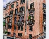 "ORIGINAL Miniature Ink and Watercolour Painting - ""Venetian Hotel"" (Venice, Italy)/Mini Vacations Series"