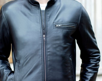 Leather Jacket For Men - Mens Leather jacket - Biker Jacket - Black Leather Jacket - Leather Jacket Men - Motorcycle Jacket - Moto Jacket