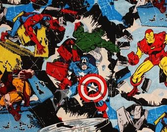 Marvel Fabric Iron Man Hulk Spider Man Thor Captain America Fabric By the Half Yard