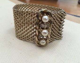 Vintage Pearl and Crystal Weaved Bracelet