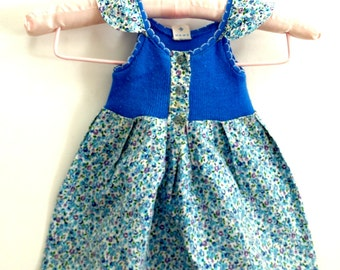 Baby girl dress floral blue summer toddler dress sleeveless dress baby sundress 1 year 18 months vintage