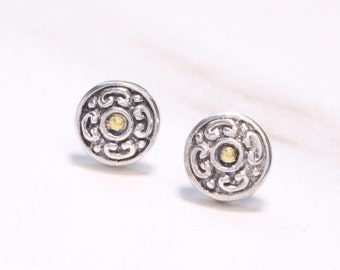 Silver and Gold Round 6 mm Stud Earrings, Sterling Silver Round stud earrings, 18 kt gold accent stud earrings, Two Tone stud earrings