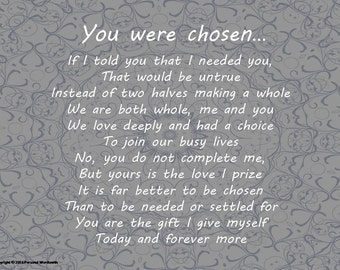 Chosen Wedding Poem Digital Print Marriage Download To A Bride Wall Art