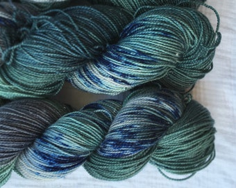 Twinkle Twilight Sage sock yarn - handdyed superwash merino/nylon/stellina