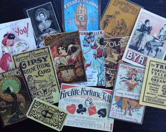 BB30B -- Lot of 14 Vintage Gypsy Fortune Teller for Card Making Free Shipping