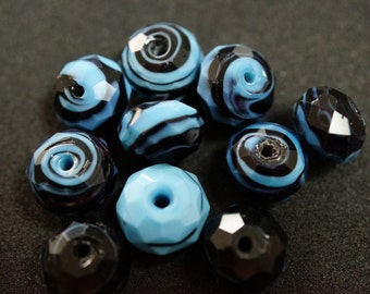 1 Pearl to FACETED glass turquoise and black