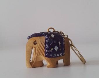 Hand crafted wooden elephant keyring - Bespoke Gift
