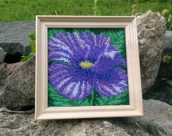 Pictures embroidered with beads poppy flower.Blue flower.Picture with flowers